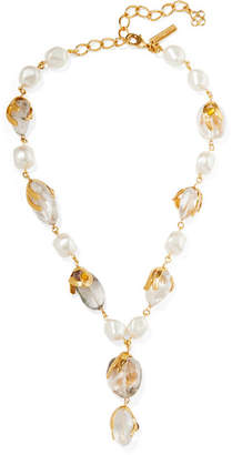 Oscar de la Renta Gold-tone Multi-stone Necklace