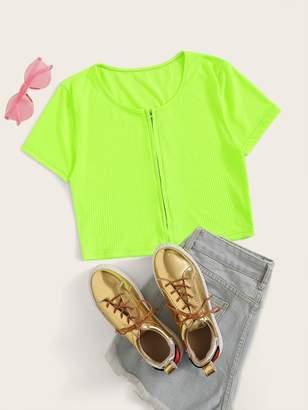 Shein Neon Lime Zipper Front Crop Top