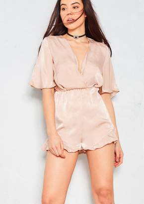 c1443dd87a20 Missy Empire Missyempire Ali Nude Tie Waist Plunge Front Frill Playsuit