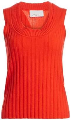 3.1 Phillip Lim Double Scoopneck Rib-Knit Cashmere Top