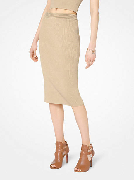 Michael Kors Ribbed Stretch-Viscose Pencil Skirt