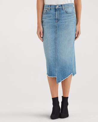 7 For All Mankind Spliced Hem Midi Skirt in Satellite Sky