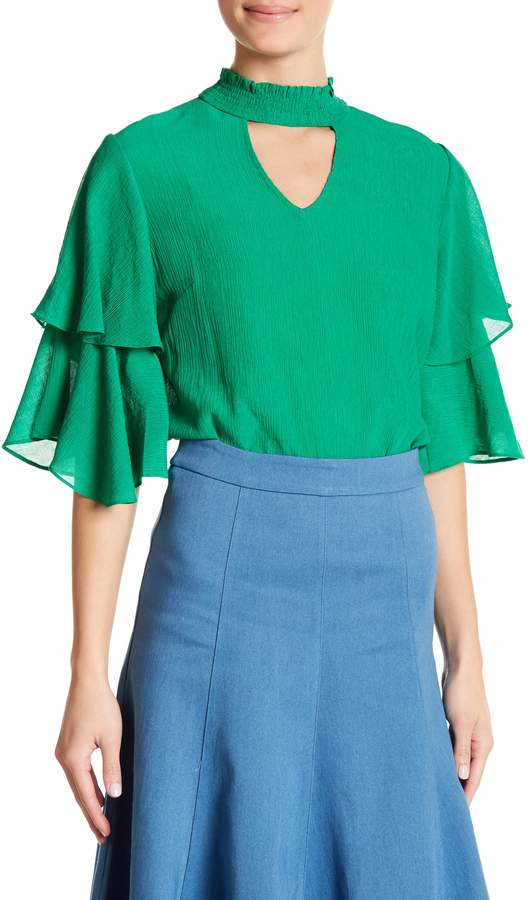 Jealous Tomato Tiered Bell Sleeve Cutout Blouse