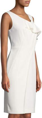 Donna Karan Drape-Front Sleeveless Sheath Dress