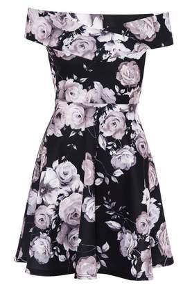 Quiz Black and Grey Floral Bardot Skater Dress