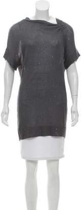 Brunello Cucinelli Short Sleeve Embellished Knit Top