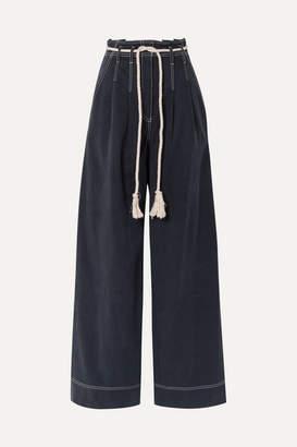 Ulla Johnson Soren Belted Tencel And Cotton-blend Wide-leg Pants - Midnight blue