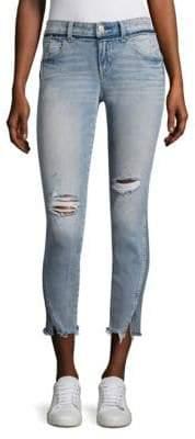 Amo Twist Two-Tone Distressed Cropped Skinny Jeans