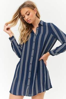Forever 21 Striped Chiffon Shirt Dress