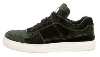 Alejandro Ingelmo Embossed Velvet Low-Top Sneakers olive Embossed Velvet Low-Top Sneakers