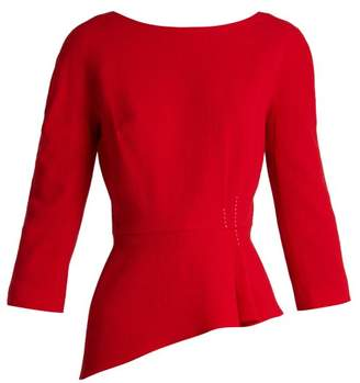 Lanvin (ランバン) - Lanvin - Asymmetric Peplum Wool Crepe Top - Womens - Red