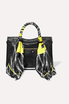 Balenciaga Classic City Aj Printed Silk-twill-trimmed Textured-leather Tote - Black