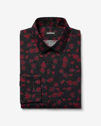 Express Slim Floral Cotton Dress Shirt