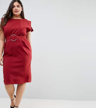 Asos Split Cap Sleeve Midi Dress with Modern Ring Belt