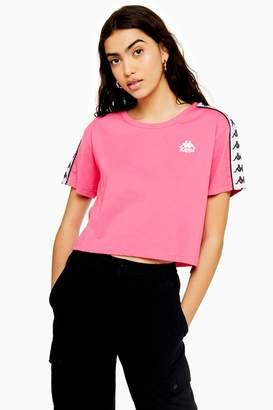 Kappa Womens Banda Tape Crop T-Shirt By Pink