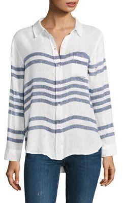 Rails Charli Riviera Linen Striped Shirt $148 thestylecure.com