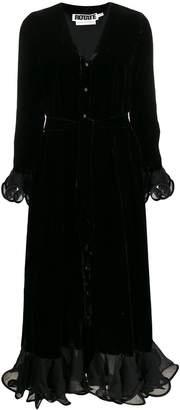 Rotate velvet ruffle-trimmed midi dress