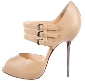 Christian Louboutin Leather Peep-Toe Pumps