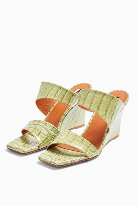 Topshop Womens Rellik Leather Wedge Mules - Sage