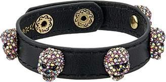 Betsey Johnson Halloween Black Leather with Multi-Color Stone Skulls Wrap Bracelet
