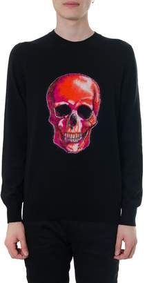 Alexander McQueen Black Wool Jumper With Skull Graphic