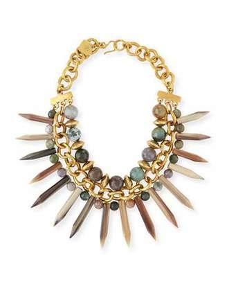 Ashley Pittman Kali Mixed Horn Beaded Spike Necklace