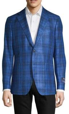 Plaid Silk & Cotton Sportcoat