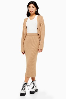 Topshop Camel Ribbed Midi Skirt