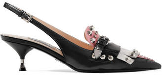 Prada Studded Fringed Leather Slingback Pumps - Black