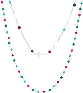 Silver Cross Italian Motif Gemstone Necklace Set