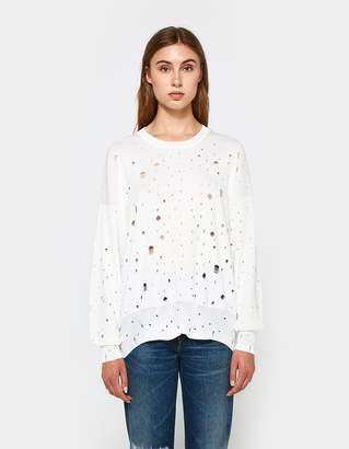 Alexander Wang L/S Oversized Crew Neck Sweater in Bone