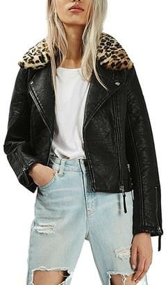 Topshop Faux Leather Jacket with Faux Leopard Fur Collar $100 thestylecure.com