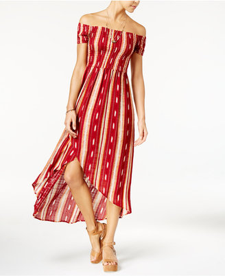 American Rag Striped Off-The-Shoulder Tulip-Front Maxi Dress, Only at Macy's $69.50 thestylecure.com