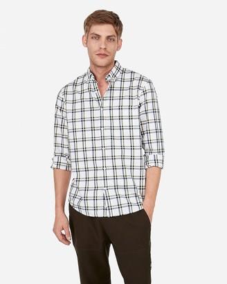 Express Slim Plaid Button Collar Soft Wash Shirt