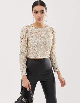 Asos Design DESIGN long sleeve top with sequin embellishment