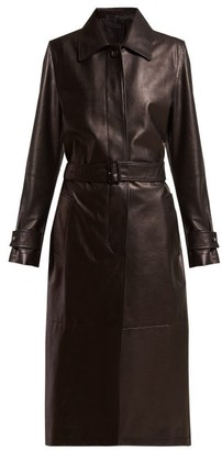 Bottega Veneta Single Breasted Leather Coat - Womens - Black