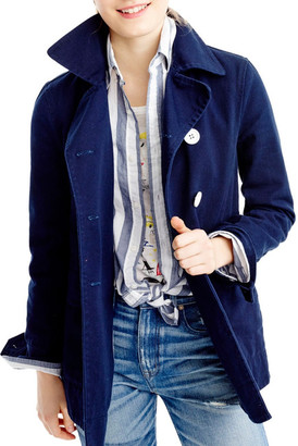 J. Crew Factory Heavy Cotton Twill Peacoat $128 thestylecure.com