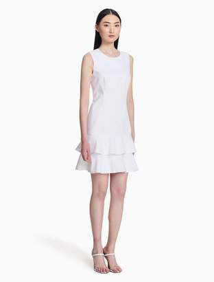 Calvin Klein cotton stretch tiered ruffle dress