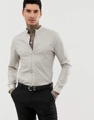 9349e69c0e9f Asos Design DESIGN stretch slim polka dot shirt with grandad collar
