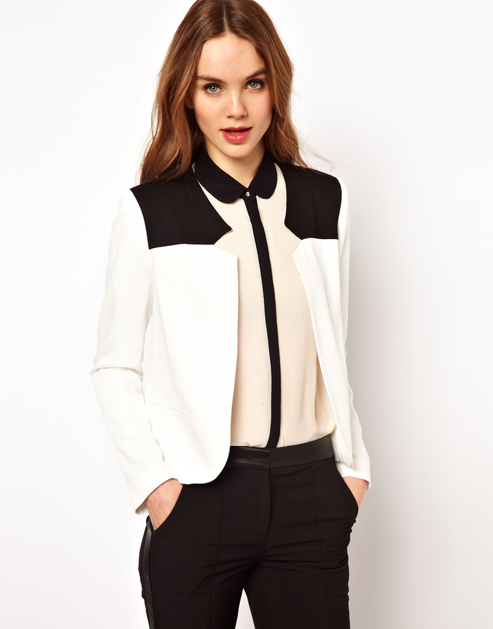 French Connection Contrast Yoke Tailored Jacket