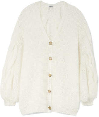 Loewe Oversized Cable-knit Mohair-blend Cardigan - White