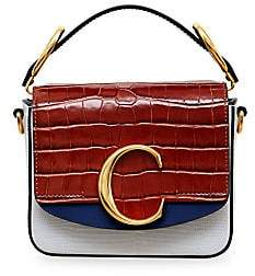 Chloé Women's Mini C Crocodile & Python-Embossed Leather Square Bag