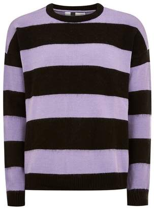 Topman Mens Purple Block Stripe Sweater