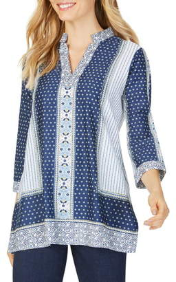 Foxcroft Angelica Scarf Print Cotton Tunic Top