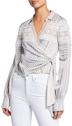 Self-Portrait Striped Long-Sleeve Wrap Top w/ Lace