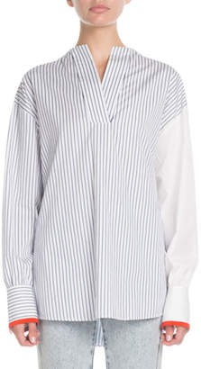 Victoria Beckham Victoria Split-Neck Long-Sleeve Pinstripe Cotton Blouse