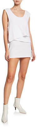 Alexander Wang High Twist Scoop-Neck Layered Muscle Mini Dress