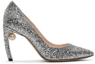 Nicholas Kirkwood Silver Glitter Pearl Mira Heels