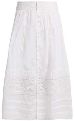 Sea Lace Trimmed Cotton Skirt - Womens - White