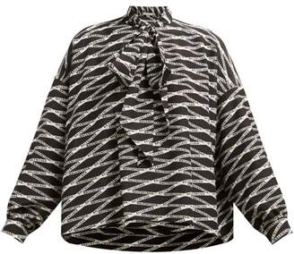 Balenciaga Logo Print Silk Blouse - Womens - Grey Multi